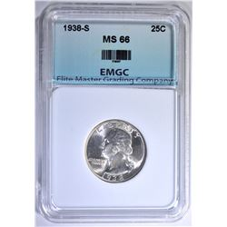 1938-S WASHINGTON QUARTER, EMGC SUPERB GEM BU