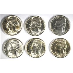 6-GEM BU 1944-D SILVER JEFFERSON NICKELS