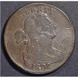 1802 LARGE CENT  VF/XF  DETAILS DAMAGED