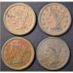 1843, 1851, 1853 & 1855 LARGE CENTS VF-XF
