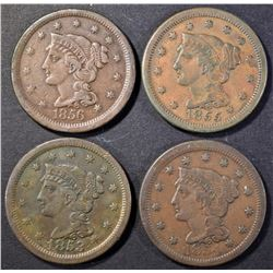 1853, 1854, 1855 & 1856 VF/XF LARGE CENTS