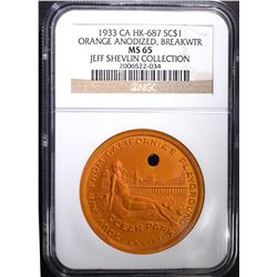 1933 CA HK-687 ORANGE ANODIZED RARE, NGC MS-65