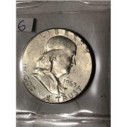 1963 P High Grade Silver Franklin Half Dollar Nice Early US Coin