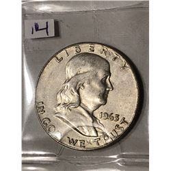RARE 1963 D over D Silver Franklin Half Dollar Nice Early US Coin
