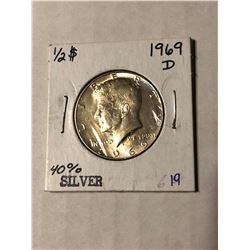 1969 D Silver Kennedy Half Dollar