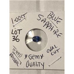 GEM 1.00 Carat BLUE SAPPHIRE GEM QUALITY Oval Cut Tested Natural