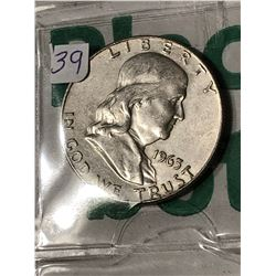 1963 D High Grade Silver Franklin Half Dollar Nice Early US Coin