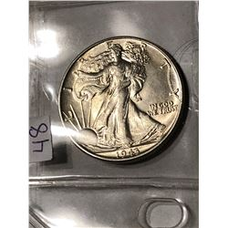 RARE 1943 P MS65 Plus High Grade Walking Liberty Half Dollar Nice Early US Coin