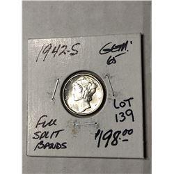 1942 S Full Split Bands GEM65 Mercury Silver Dime High Grade