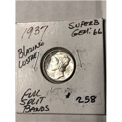 1937 Full Split Bands SUPER B GEM66 Mercury Silver Dime High Grade