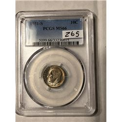 1951 S Roosevelt Dime Certified PCGS MS 66