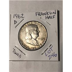 1962 D Silver Franklin Half Dollar Toned Nice Early US Silver 50 Cents