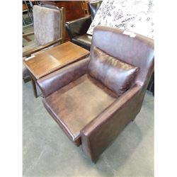 NEW BROWN LEATHER ACCENT CHAIR WITH PILLOW, RETAIL $399