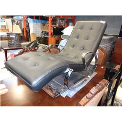 NEW MODERN CHROME AND BLACK LEATHER TUFTED ROCKING CHAISE LOUNGE RETAIL $1799