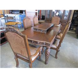 ASHLEY FLOOR MODEL HIGHLY CARVED MAHOGANY DINING TABLE WITH 2 EXTENSIONS, 3 ARM CHAIRS, 3 SIDE CHAIR