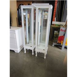 2 WHITE GLASS DISPLAY CABINETS