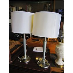 PAIR OF BRUSHED EMTAL TABLE LAMPS