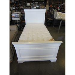 STANLEY SINGLE SIZE WHITE BEDFRAME W/ UNDER BED STORAGE AND MATTRESS
