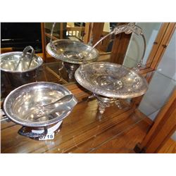 SILVER PLATE, ICE BUCKET W/ TONGS, AND SERVING DISH