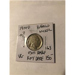 Extremely Rare 1914 D Top 5 Buffalo Nickel Key Date VG Grade acid wash