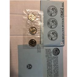 1980 US Mint P D S 3 Coin Susan B Anthony Dollars Set in Original Package
