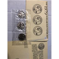1979 US Mint P D S 3 Coin Susan B Anthony Dollars Set in Original Package