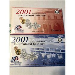 2001 P D US Mint Set in Original Packages