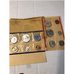 1961 P D US Mint Set Silver Half Quarter Dime in Original Package
