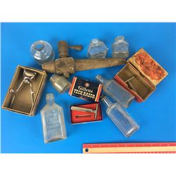 MISC. LOT  (SAFETY RAZORS, BOTTLES, WOODEN BARREL TAP)