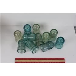 LOT OF 11 GLASS INSULATORS