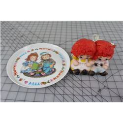 LOT OF RAGGEDY ANN AND ANDY BEDSIDE LIGHT & PLATE * WORKING *