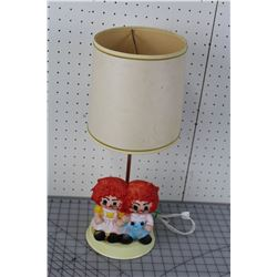 RAGGEDY ANN & ANDY LAMP * WORKING *