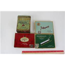 LOT OF 4 TOBACCO TINS (PLAYERS. MACDONALD'S, CRAVEN, OLD CHUM )