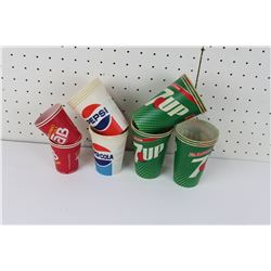 LOT OF 19  WAX PAPER CUPS (7-UP, PEPSI, TAB) *VINTAGE*