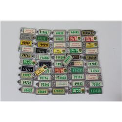 LOT OF 42 WAR AMP LICENSE PLATE KEY CHAIN TAGS (SASKATCHEWAN)