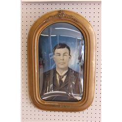 "ANTIQUE CONVEX BUBBLE GLASS PICTURE FRAME (23 1/2"" X 15 1/2"")"