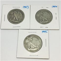 LOT OF 3 USA 50 CENT PIECES (SILVER) *1943-44-45*