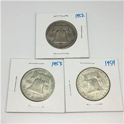 LOT OF 3 USA 50 CENT PIECES  (SILVER) *1952-53-54*