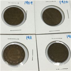 LOT OF 4  LARGE  PENNIES (CANADIAN) *1909-10-11-14*