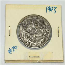 50 CENT PIECE (CANADIAN) *1943-SILVER *