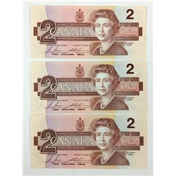 LOT OF 3  $2.00 BANK NOTES (CANADIAN) *CONSECUTIVE SERIALS 1986*