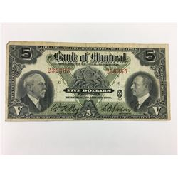 $5 BANK NOTE (BANK OF MONTREAL) *1935*