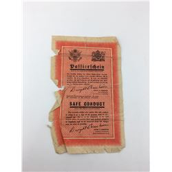 SAFE CONDUCT PASS (ISSUED TO GERMAN SOLDIER) *WWII USA*