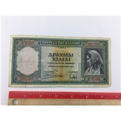 1939 GREEK BANK NOTE (1,000 DRACHMA)