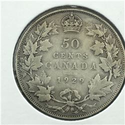 1929 CNDN 50 CENT PC * SILVER *