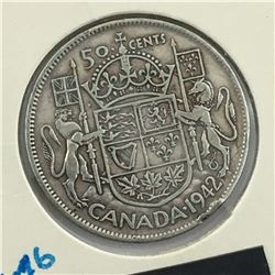 1942 CNDN 50 CENT PC * SILVER *