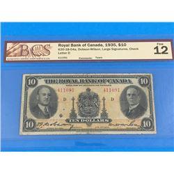1935 ROYAL BANK OF CANADA $10 BANK NOTE (GRADED F-12)