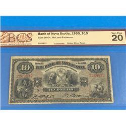 1935 BANK OF NOVA SCOTIA $10 BANK NOTE (GRADED VF-20)