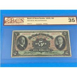 1935 BANK OF NOVA SCOTIA $5 BANK NOTE (GRADED VF-35)