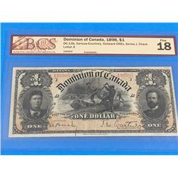 1898 DOMINION OF CANADA $1 BANK NOTE (GRADED F-18)